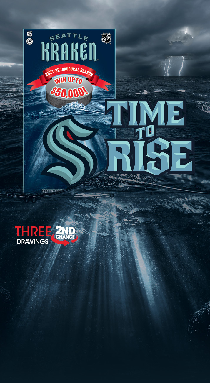 Seattle Kraken Scratch ticket rising up out of a stormy sea. Time to Rise.